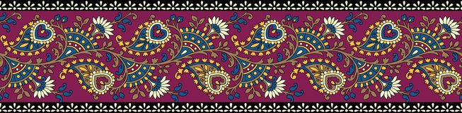Indian classical paisley border vector illustration