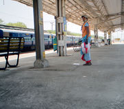Indian cleaner on platform Royalty Free Stock Photos