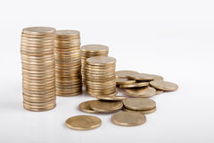 Indian coin collection. Pile of money (indian coin ) isolated on white background Stock Photos