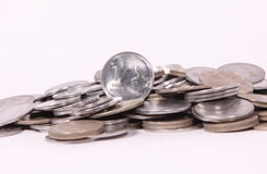 Indian Coins. And One rupee coins exhibits thumb up sign Royalty Free Stock Photo