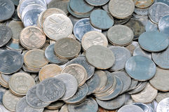 Indian coins. Lots of Indian coins lying together in abundance Royalty Free Stock Photography