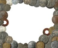 Indian coins as a frame border with copy space. New, old and antique indian coins as a frame border with copy space Royalty Free Stock Photography