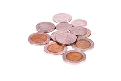 Indian coins. Beautiful shot of indian currency coins on white background Stock Photos