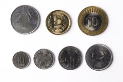Indian coins. On a white bacground - Rupee Royalty Free Stock Photography