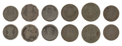 Indian Coins Isolated on White. Indian rupee coins isolated on white Stock Image