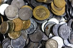 Indian coins. Photo taken while mom started counting coins Royalty Free Stock Photo