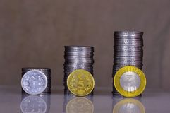 Indian coins stack in form of bar graph stock photos