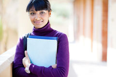 Indian college girl. Pretty indian college girl portrait on campus Royalty Free Stock Image