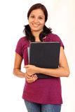 Indian college student. Smiling female student holding books stock image