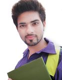 Indian College Student over white background. Royalty Free Stock Images