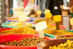 Indian colored namkeen at local market Royalty Free Stock Photos