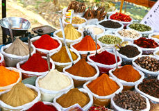 Indian colored powder spices. Various of Indian colored powder spices on the Anjuna flea market in India, Goa stock images