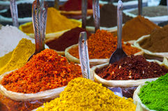 Indian colored powder spices Royalty Free Stock Photos