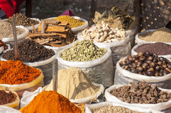 Indian colored spices on the flea market Royalty Free Stock Image