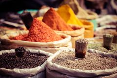 Indian colored spices at local market. Royalty Free Stock Photography