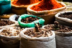 Indian colored spices at local market. Stock Photography