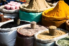 Indian colored spices at local market. Stock Images