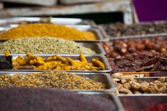 Indian colored spices at local market in Goa, India Stock Images