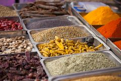 Indian colored spices at local market in Goa, India Stock Image