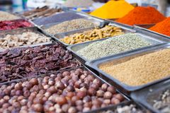 Indian colored spices at local market in Goa, India Royalty Free Stock Images