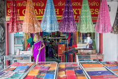 Indian colorful fabric and clothes shop. In Little India, Singapore royalty free stock image