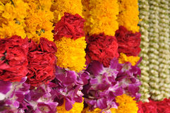 Indian colorful flower garlands Stock Images