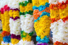 Indian colorful flower garlands. For sales during diwali festival Royalty Free Stock Photos