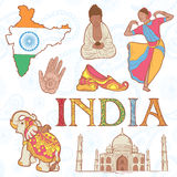 Indian colorful set of symbols Stock Images