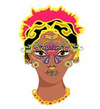 Indian girl portrait.Mehndi.Puranas.Sanskrit.Sari and face with mask Stock Photo