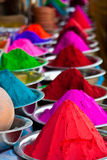 Indian coloured powders. Colors (Kumkum) for tilaka und bindi dots on the market in Mysore in India Royalty Free Stock Photography