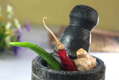 Indian cooking ingredients in a mortar Stock Photo