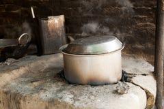 Indian cooking old deep pan (Karahi, kadhai) stock photos