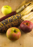 Indian Corn and Apples Stock Photos