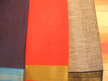 Indian Cotton Sarees. Collection of traditional handwoven cotton sarees Royalty Free Stock Photo