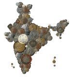 Indian country map made with old, new india coins. Indian country map created with old, new and vintage india currency coins Royalty Free Stock Images