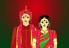 Indian couple. An illustration featuring  indian bride & groom in traditional wedding costume.vector illustration Royalty Free Stock Photo