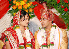 Indian couple. An gujarati indian couple talking to each other at time of wedding Royalty Free Stock Images