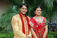 Indian Couple. An indian hindu couple in their traditional attire at wedding Royalty Free Stock Image
