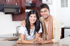 Indian couple. Beautiful young indian couple portrait at home Stock Images