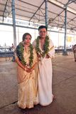 Indian Couple. July 12,2012 Guruvayur temple,Trichur,Kerala-A Keralite couple posing in the temple Royalty Free Stock Images