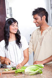 Indian couple cooking Royalty Free Stock Photo