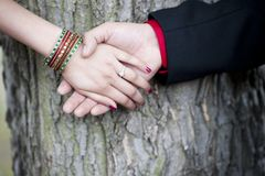 Indian Couple Engagement Hands Royalty Free Stock Photos
