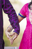 Indian Couple with heart of hands Stock Photo