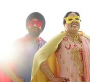 Indian Couple Superheroes Love Concept Stock Photos