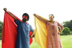 Indian Couple Superheroes Love Concept Stock Photography