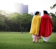 Indian Couple Superheroes Love Concept Royalty Free Stock Photos