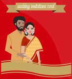 indian couple on wedding invitations card stock illustration