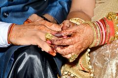 Indian Couples Shows Engagement Rings Royalty Free Stock Images