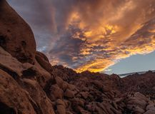 Indian Cove Campground. Rocks at Indian Cove Campground in Joshua Tree National Park California at dusk Stock Photography