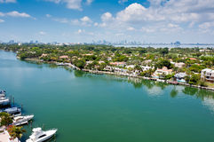 Indian Creek Canal in Miami Beach Stock Images